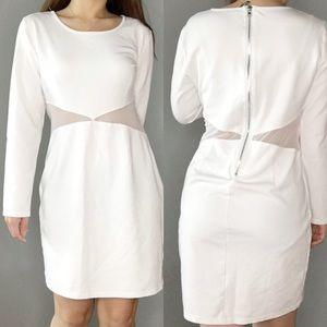 Lulu's Mesh White Bodycon Dress